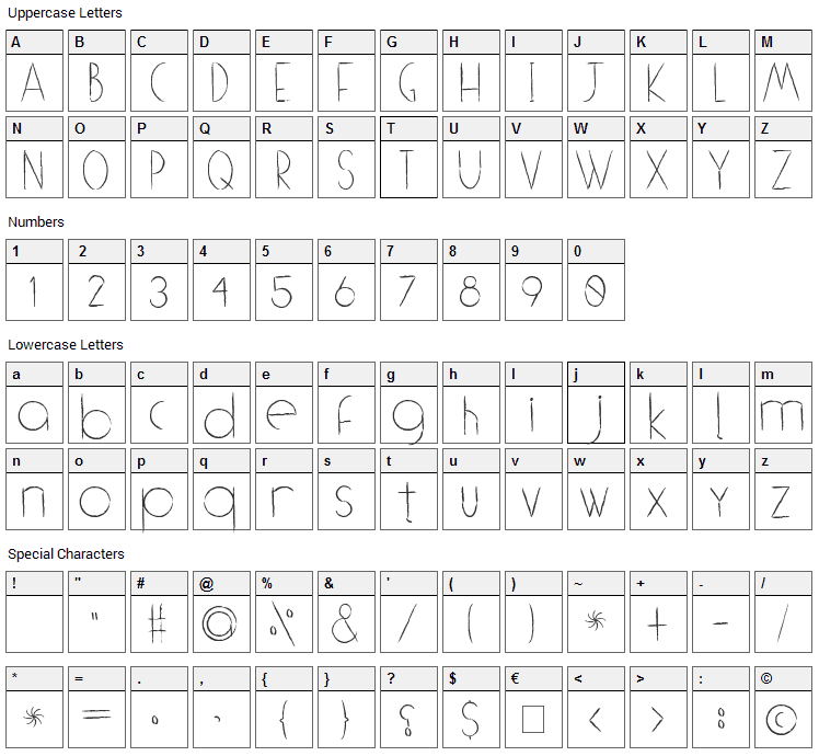 (((o))) Brushhh Font Character Map