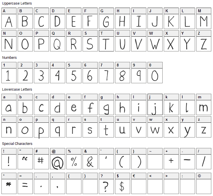 Obelisque Font Character Map