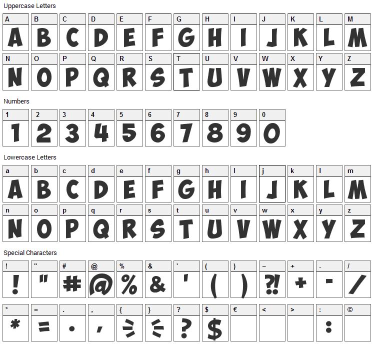Obelix Pro Font Character Map
