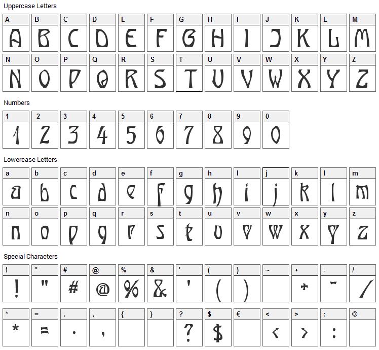 Ober Tuerkheim Font Character Map