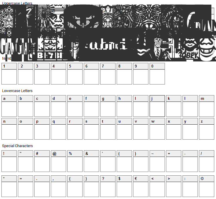Obey Series 2 Font Character Map