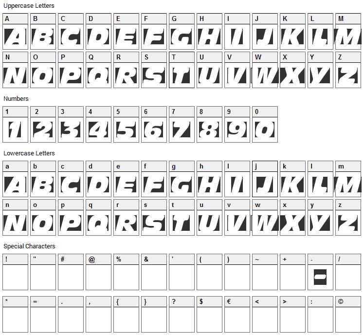 Obliquo Font Character Map