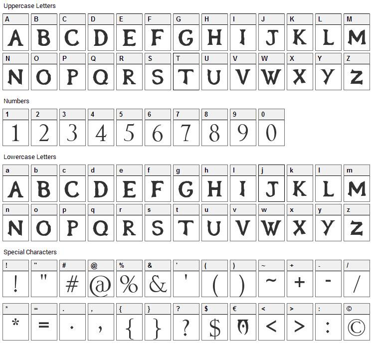 Oblivion Font Character Map