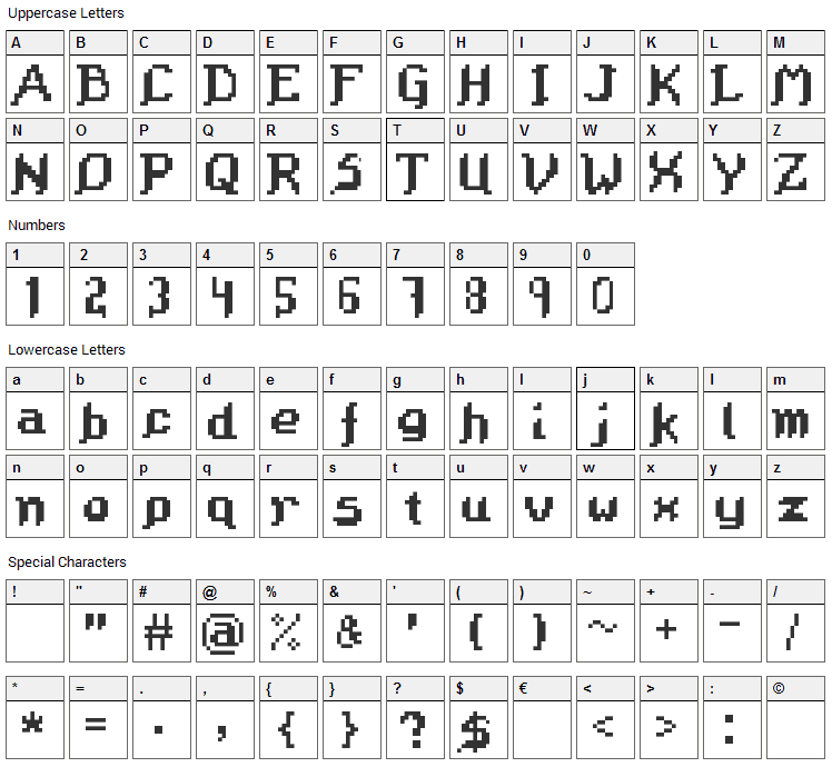 Octavius Font Character Map
