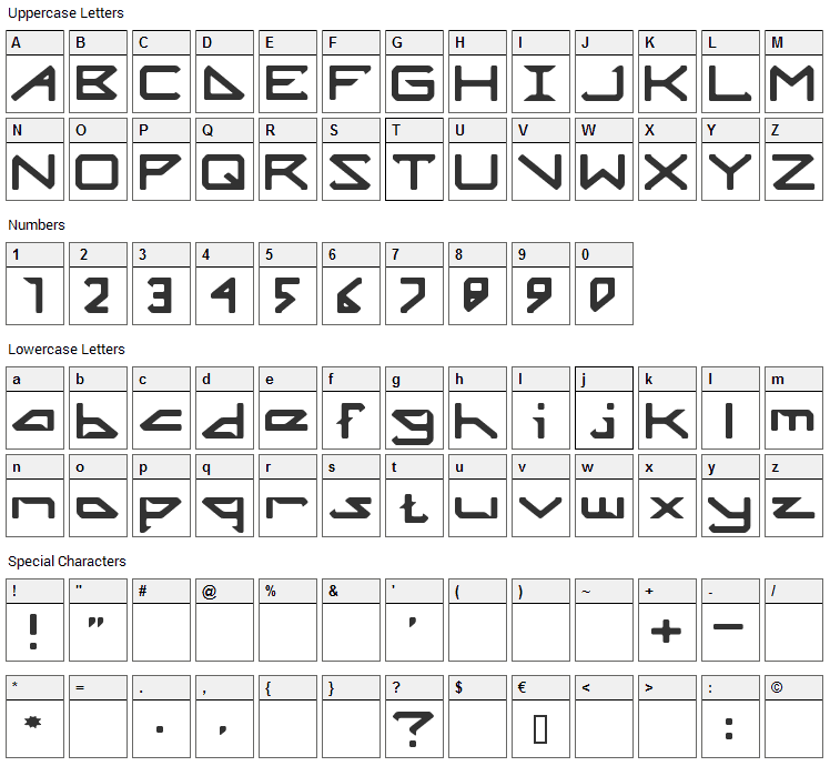 Octicity Font Character Map