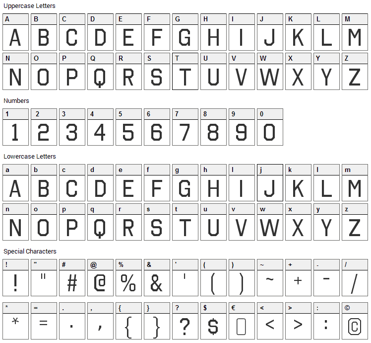 Octin College Font Character Map