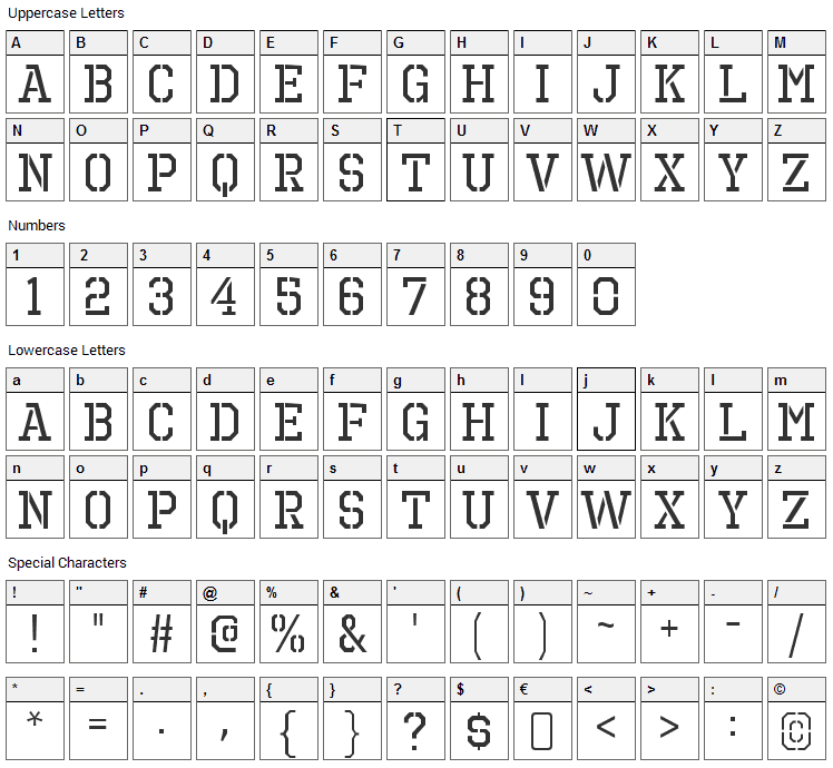 Octin Prison Font Character Map