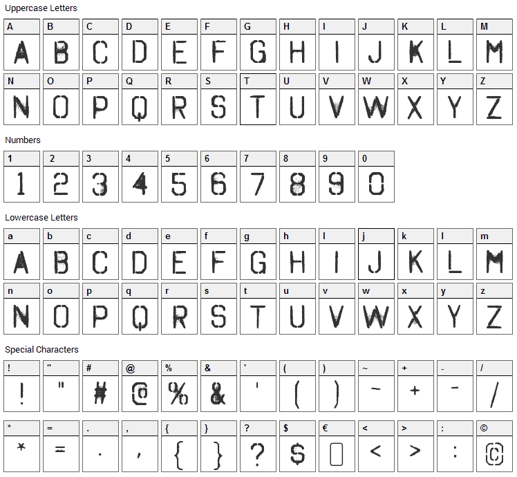 Octin Spraypaint Font Character Map