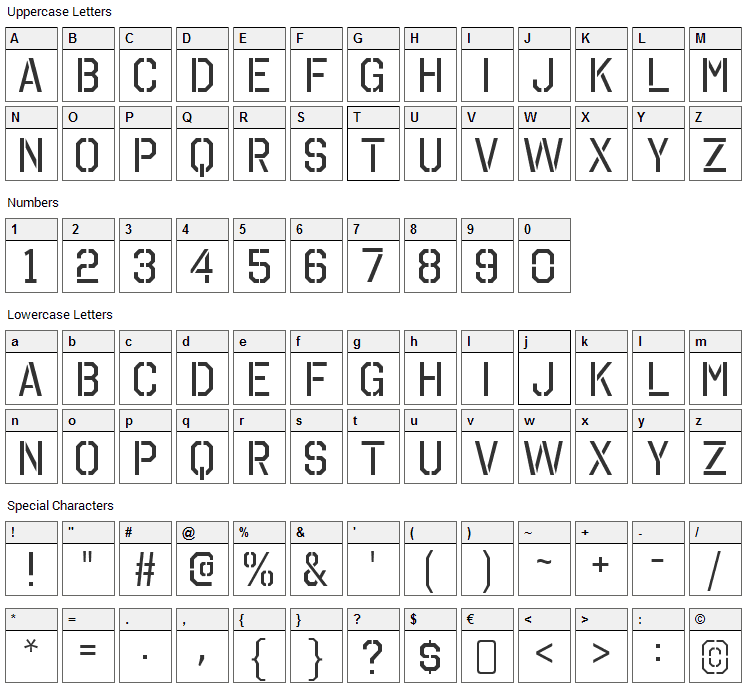 Octin Stencil Font Character Map