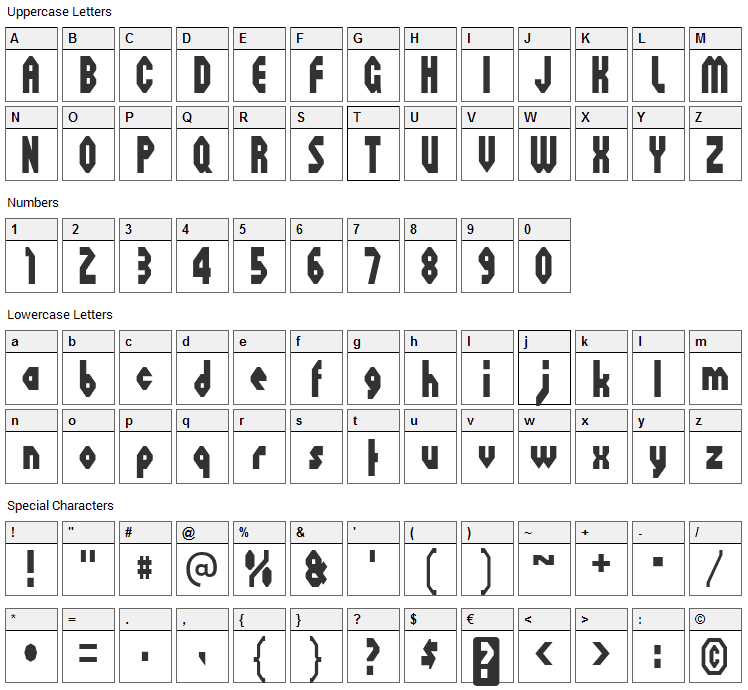 Octoville Font Character Map