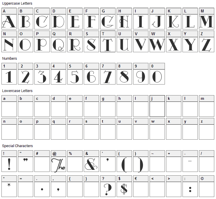Odalisque Font Character Map