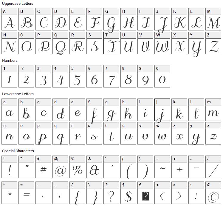 Odstemplik Font Character Map