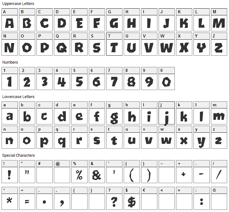 Oetztype Font Character Map