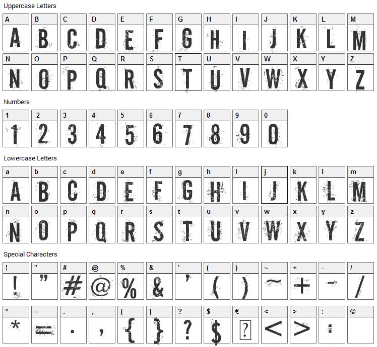Off-Road Font Character Map