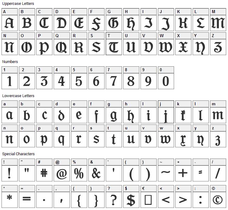 Offenbacher Schwabacher Font Character Map