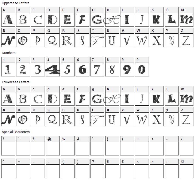 Office Junk Font Character Map