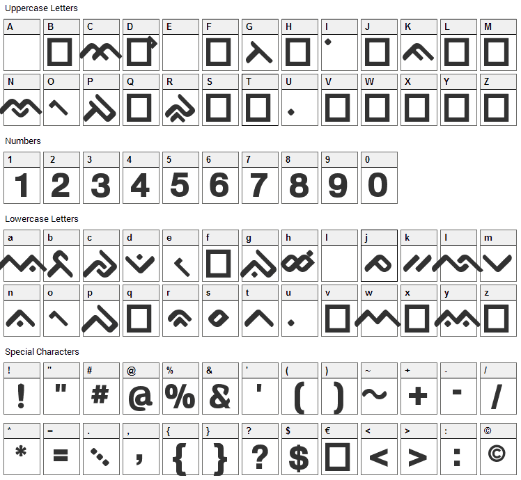 OgieCappo Campotype Font Character Map