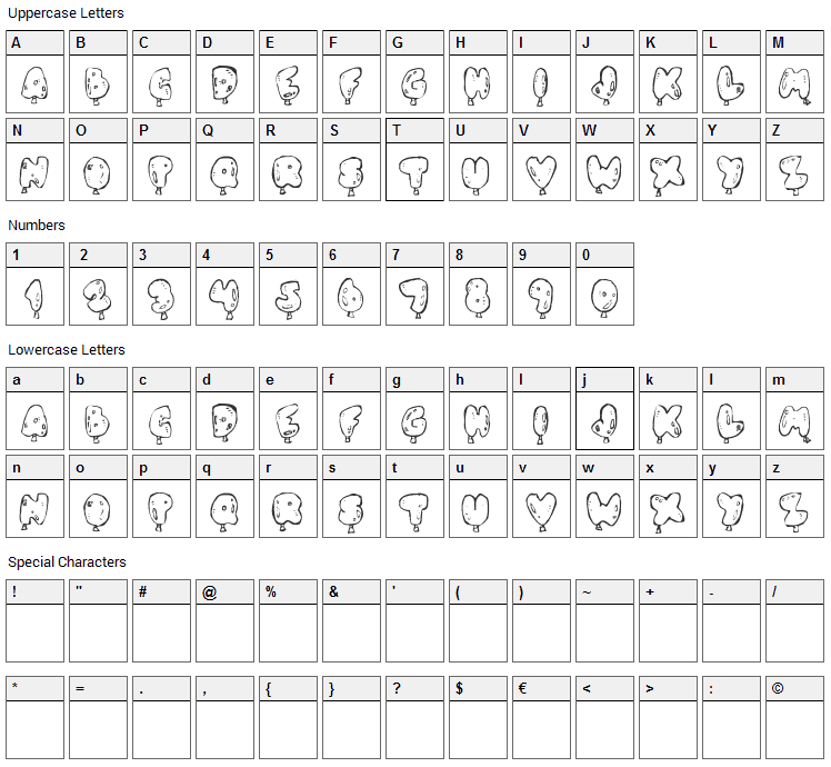 Oh, Balloney Font Character Map