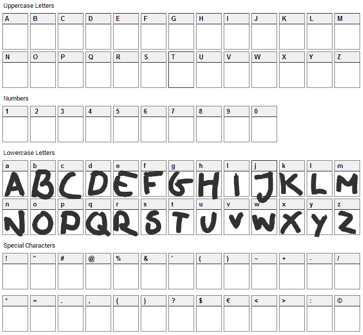 Oilhand Font Character Map