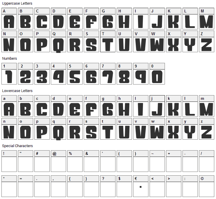 Okuba Cloud Font Character Map