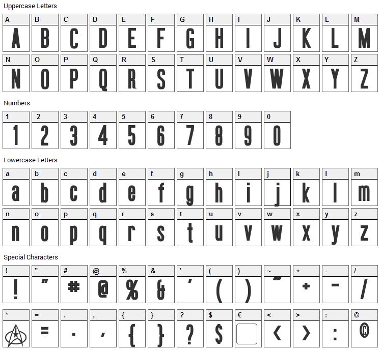Okuda Font Character Map