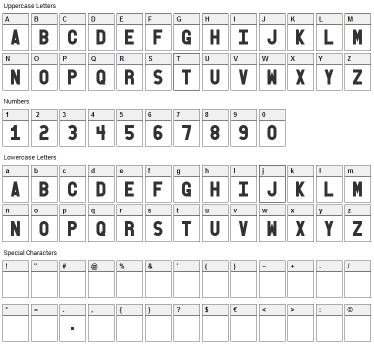 Old Block Font Character Map