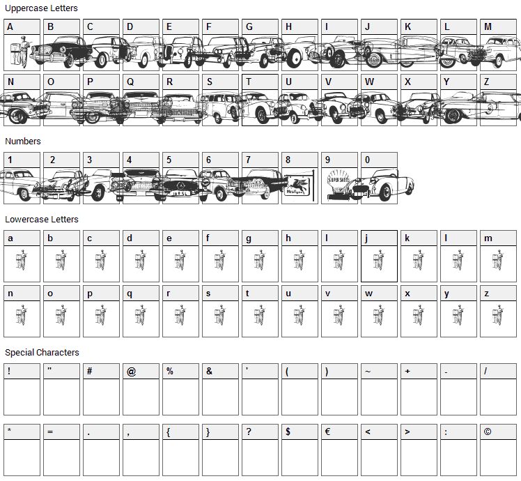 Old Car Font Character Map