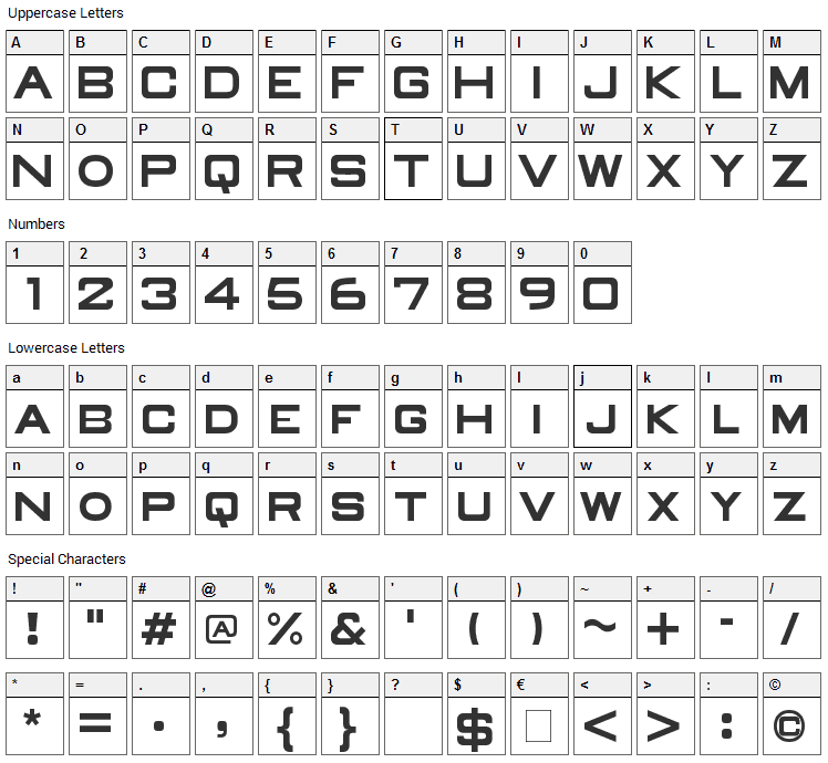 Old Republic Font Character Map