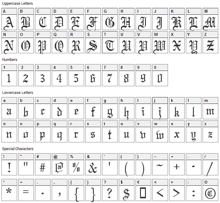 Olde English Font Character Map