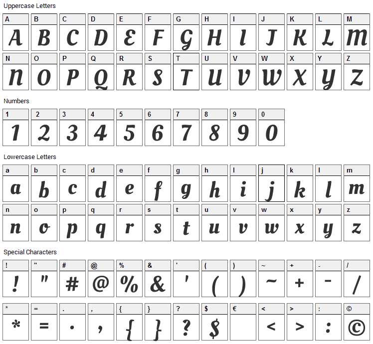 Oleo Script Font Character Map