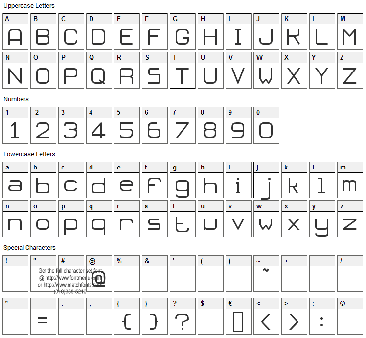 Oloron Font Character Map
