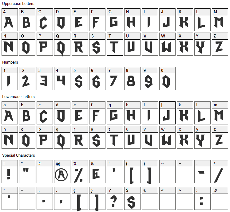 Omega Ruby Font Character Map