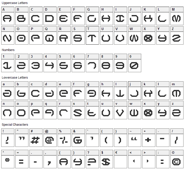 Omega Sentry Font Character Map