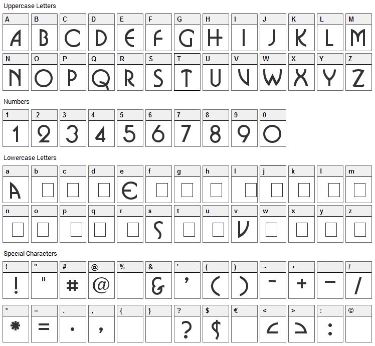 Omnibus Font Character Map