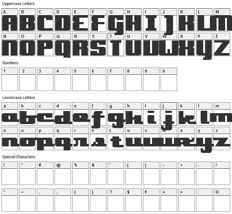 Onakite Font Character Map