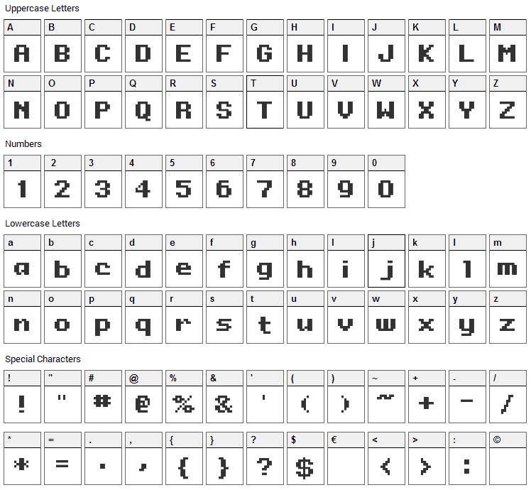 Onesize Font Character Map