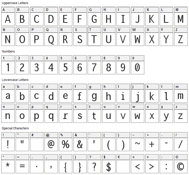 Onuava Font Character Map