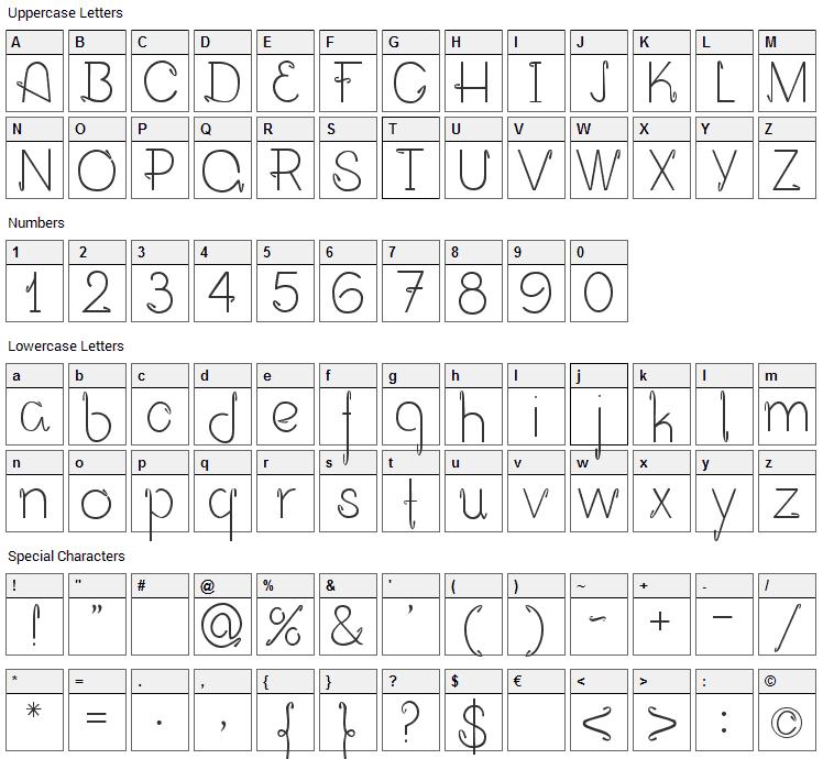 Opalo Font Character Map