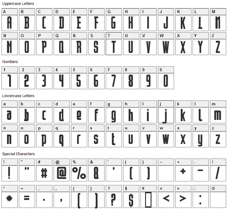 Opeln2001 Font Character Map