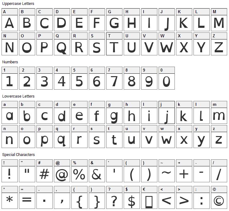 Open-Dyslexic Font Character Map
