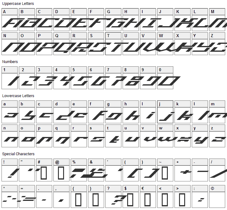 Operational Amplifier Font Character Map
