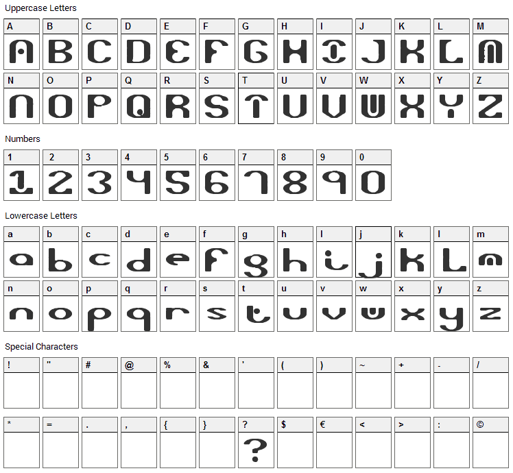 Opiated Font Character Map