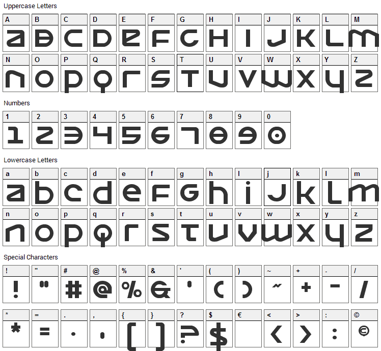 Opilio Font Character Map
