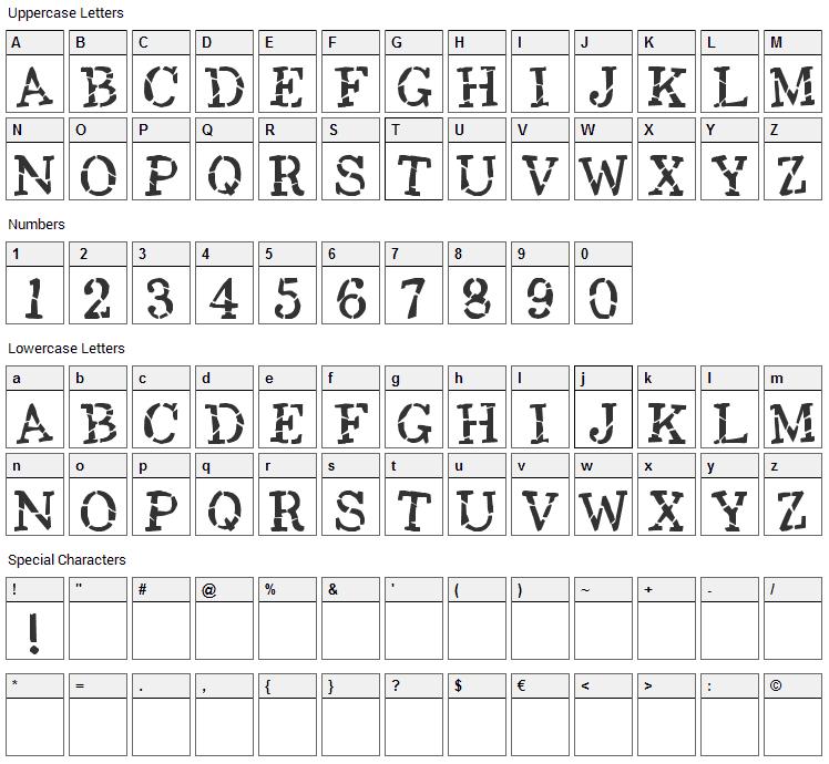 Opium Font Character Map