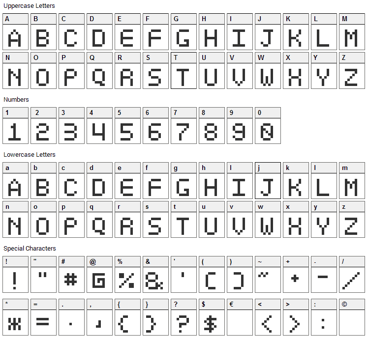 Optiate Font Character Map
