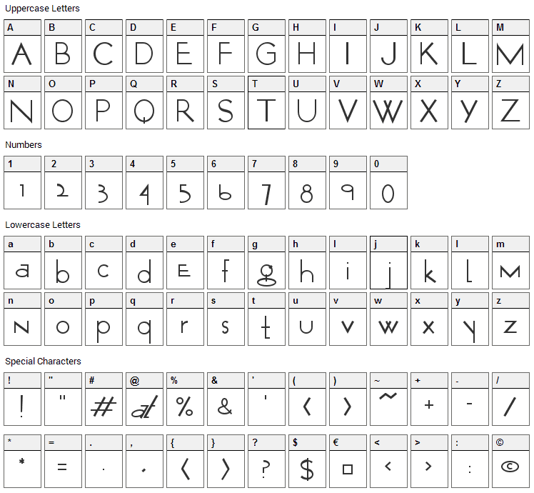 Opticon One Font Character Map