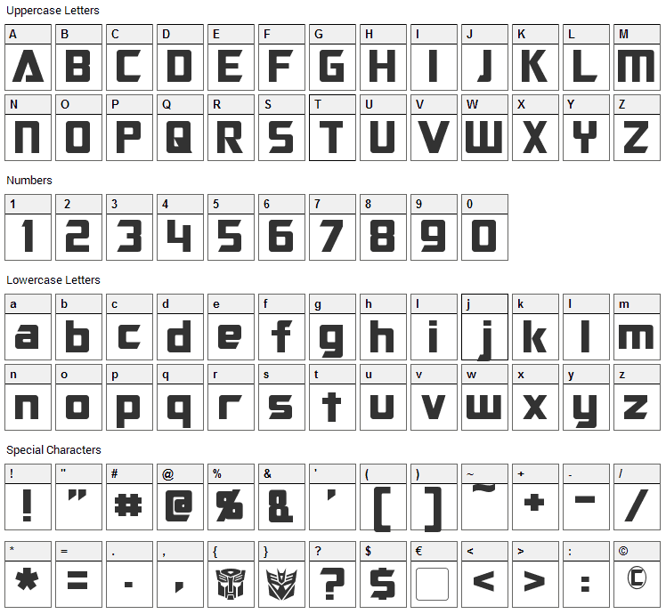 Optimus Font Character Map