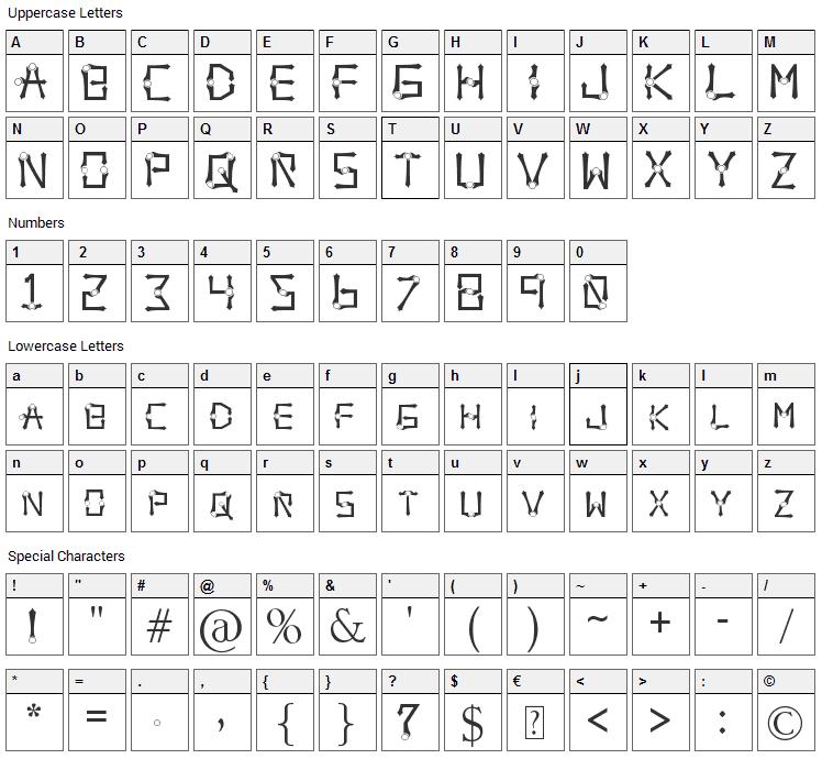 Orbital Sling Font Character Map