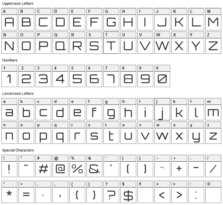 Orbitron Font Character Map