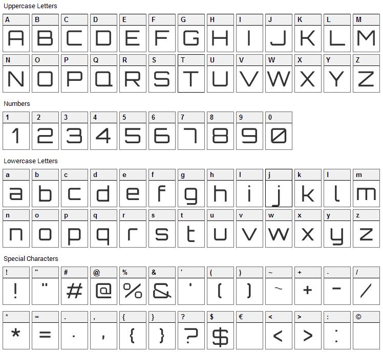Orbitron Font Character Map